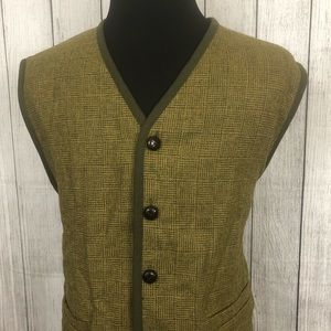 Orvis XL Green Wool Button-Front Sweater Vest